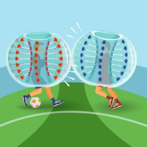 An illustration of two people playing bubble football in inflatable zorb balls